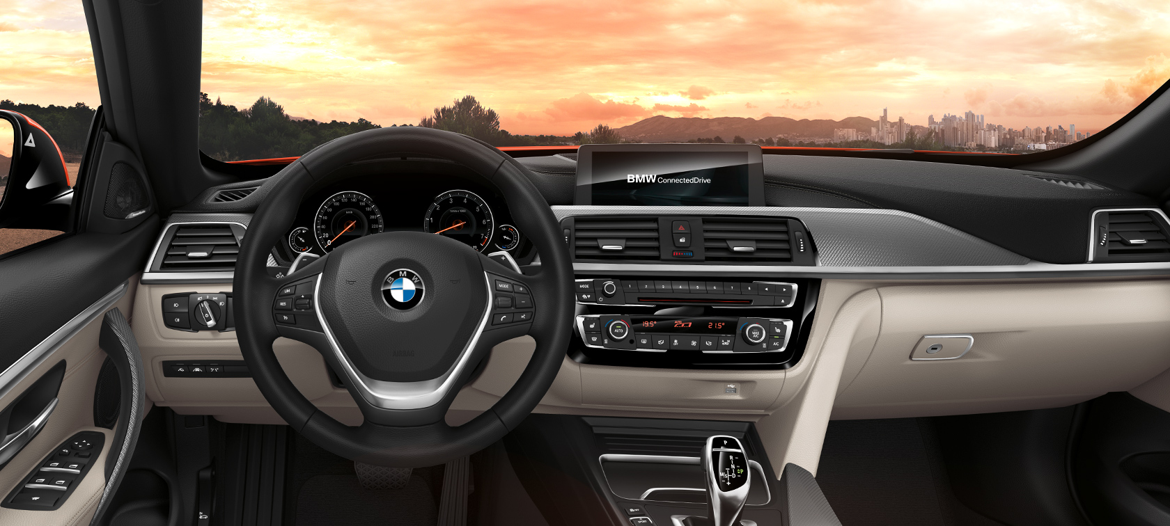 BMW 4 Series Convertible: ConnectedDrive and control panel.