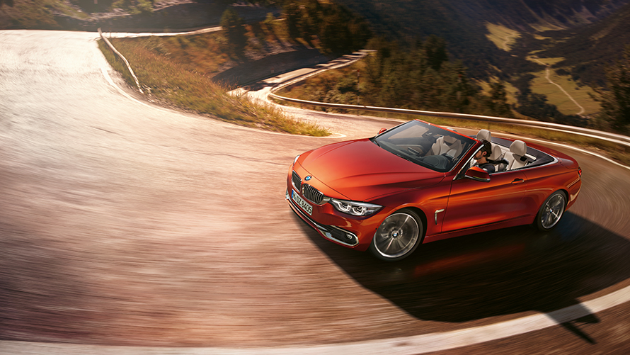 BMW 4 Series Cabriolet Front View hill driving
