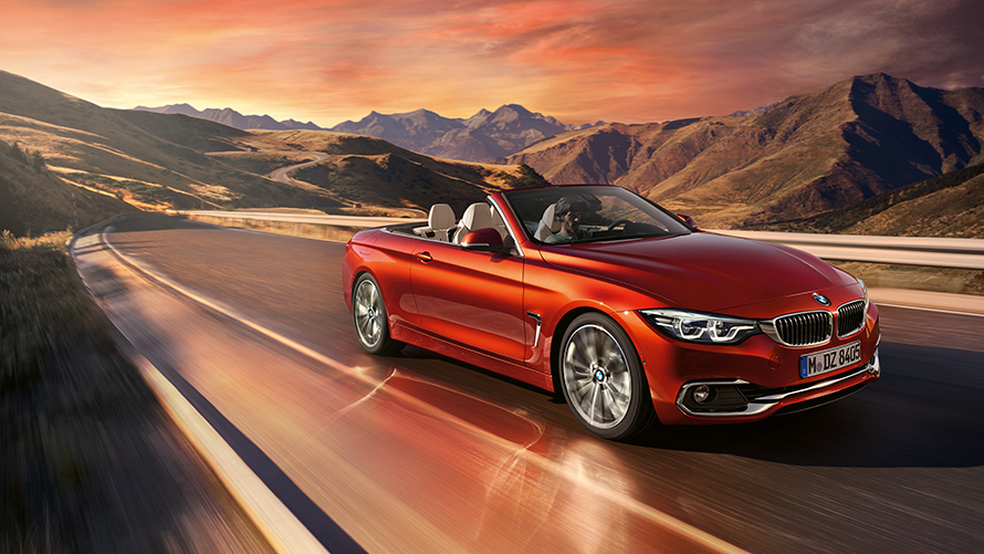 BMW 4 Series Cabriolet Side View hill driving