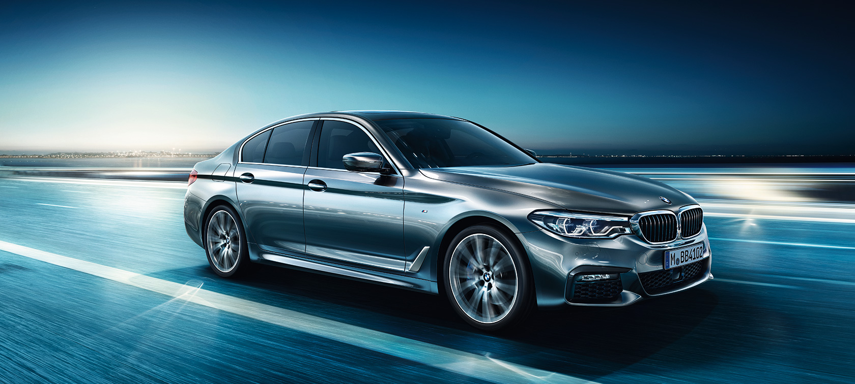 BMW 5 Series Sedan: frontside view of high-performance car.