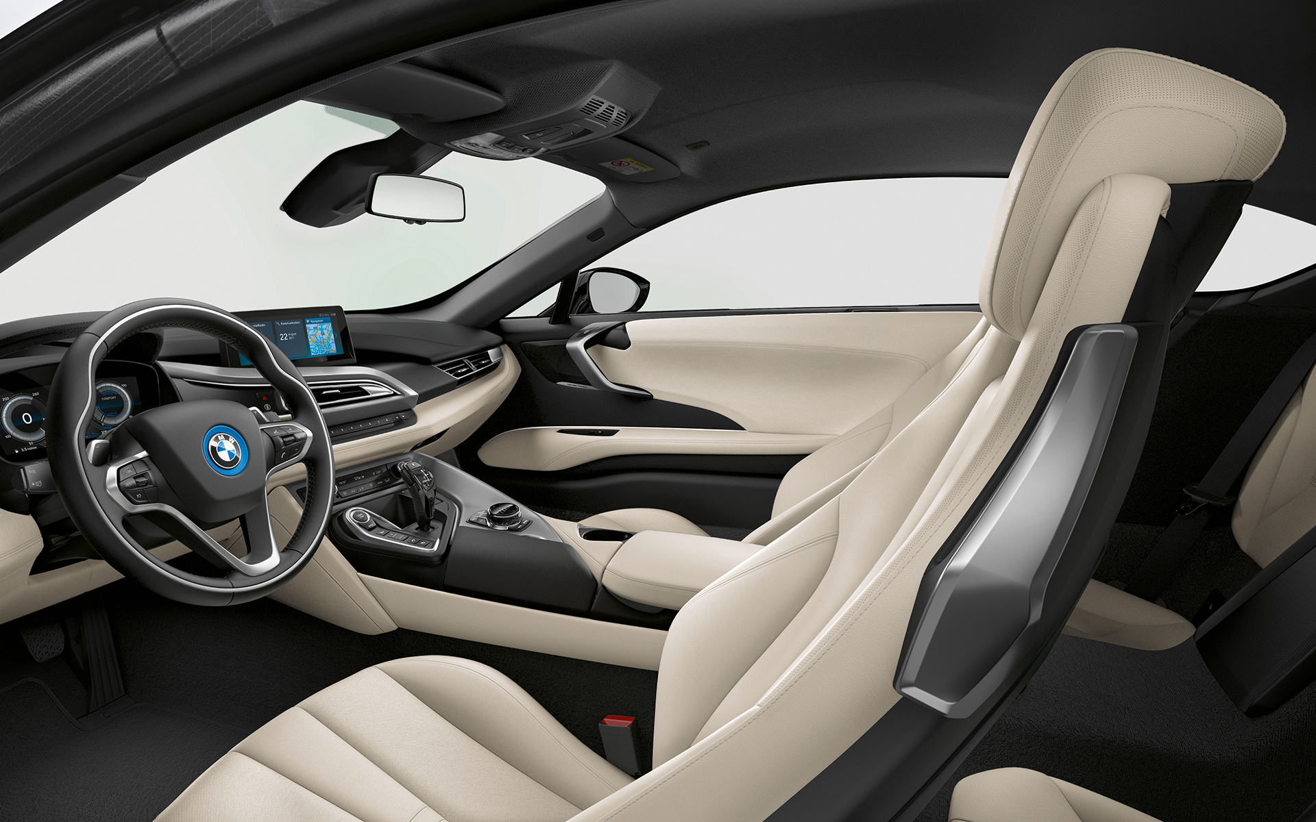 BMW i8 Coupé Ivory White Full Leather Interior drivers side