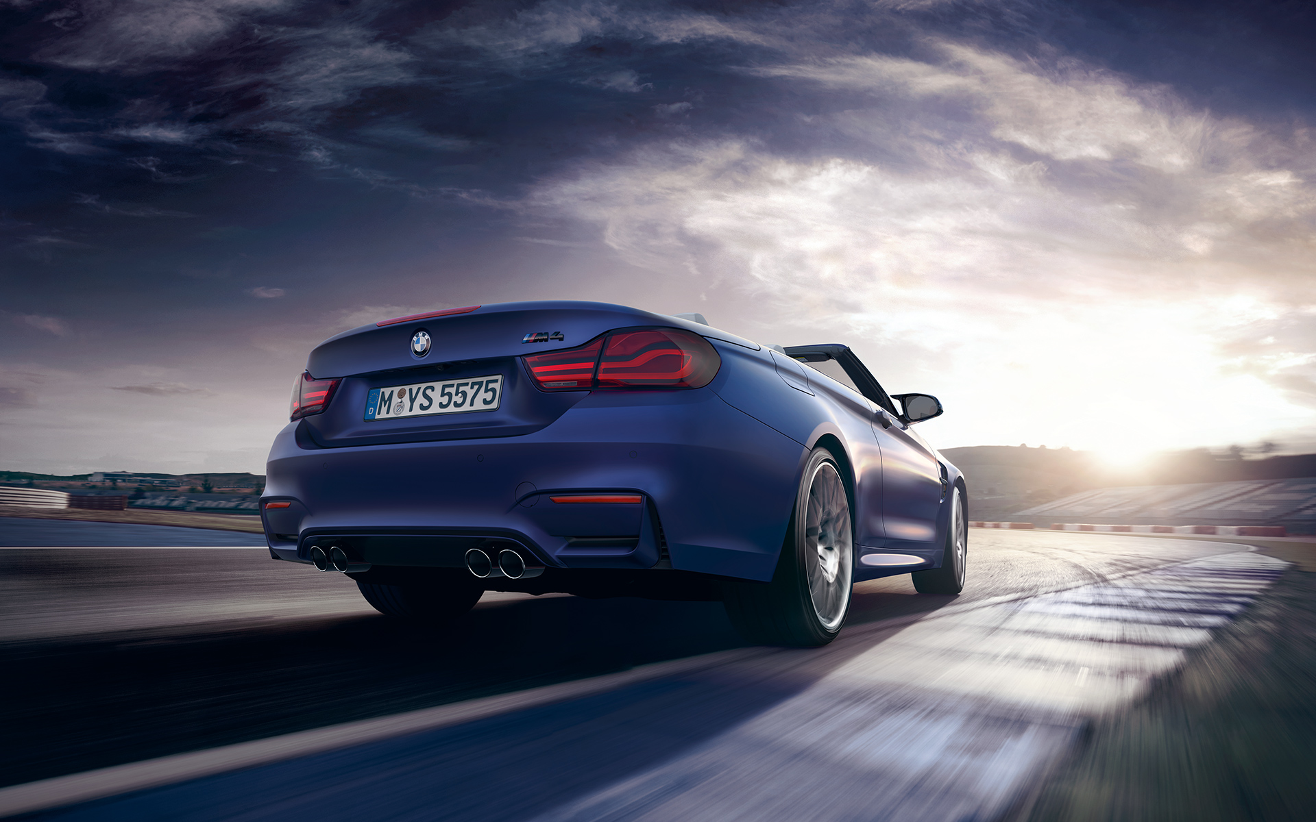 BMW M4 Cabriolet Rear View racetrack driving