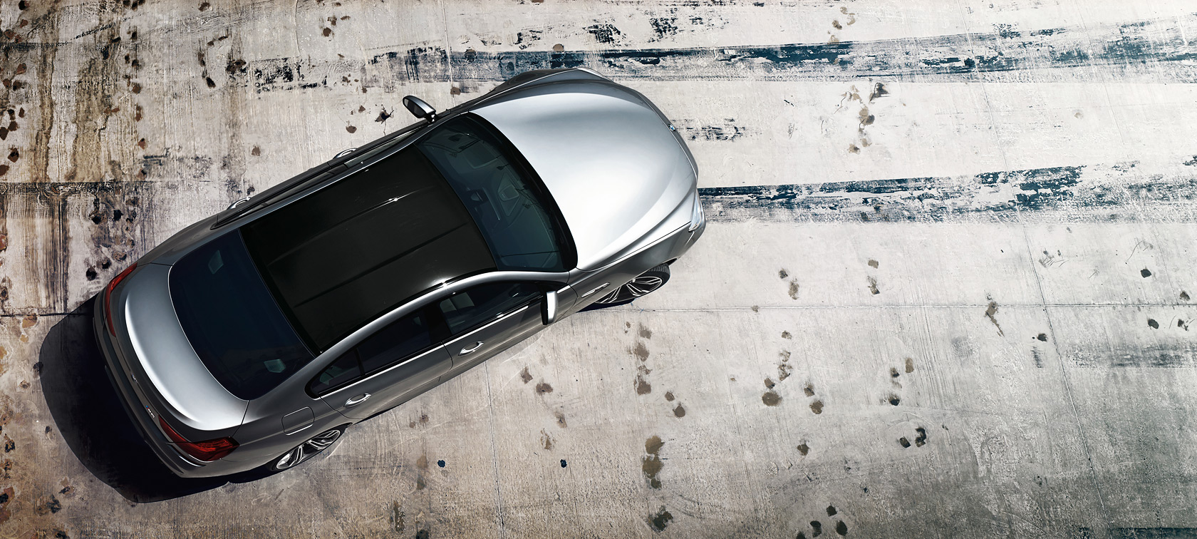 BMW M Series M6 Gran Coupe: top view of the metallic vehicle.