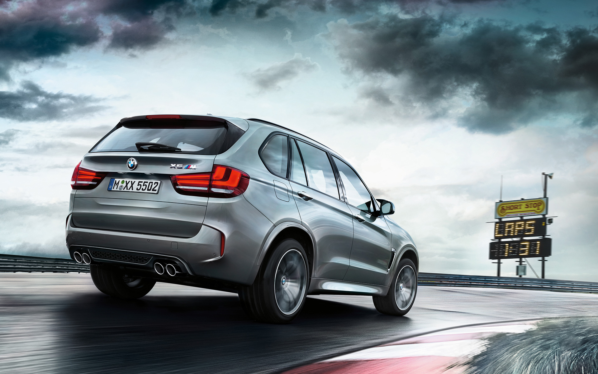 BMW X5 M Rear View racetrack driving