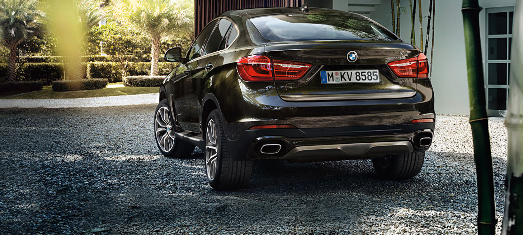BMW X Series X6: black car rear view inside the garden.