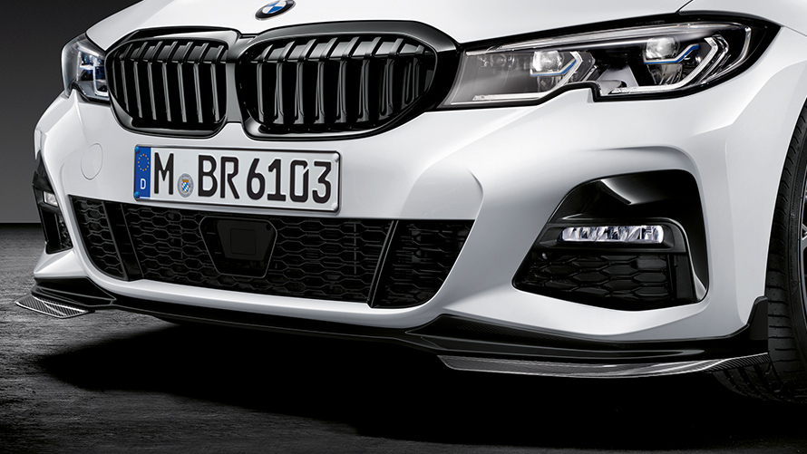 BMW M Performance: zoom-up view of grilles and headlights.