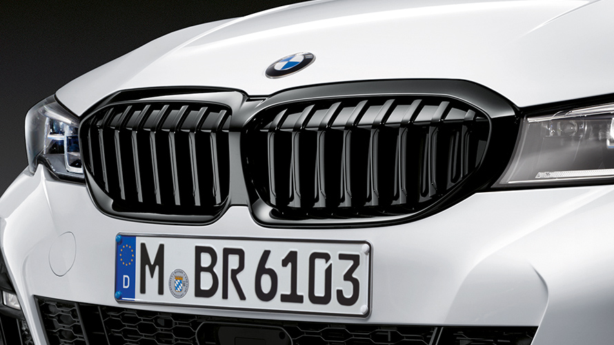 BMW M Performance in white color with black grilles.