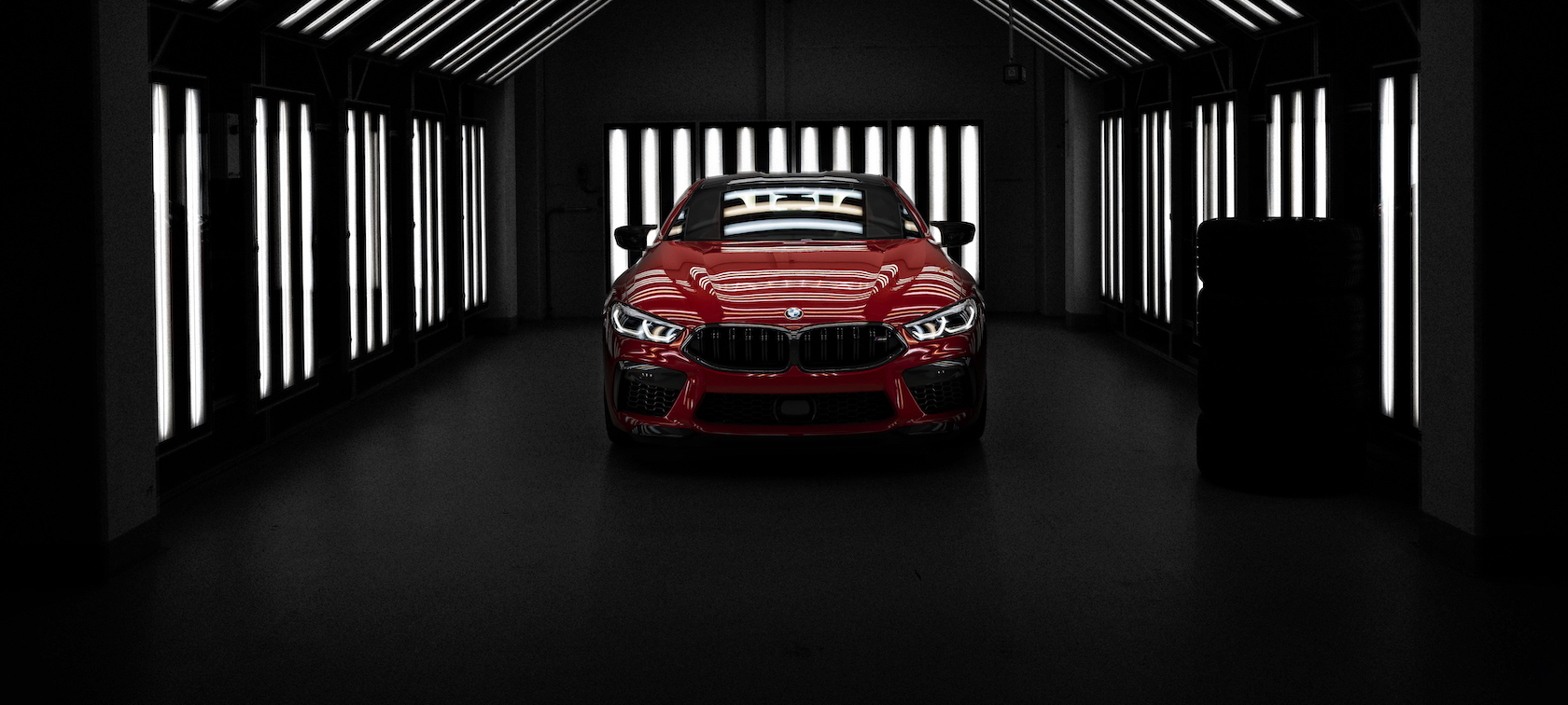 The M8 Limited Edition vehicle surrounded by lights