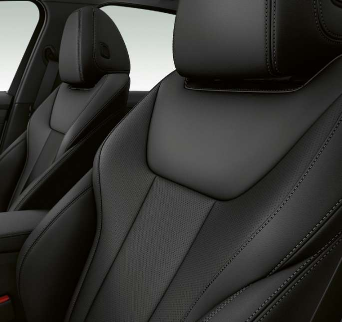 Side close-up of the front seats of the BMW 3 Series Sedan with Sport Line features.