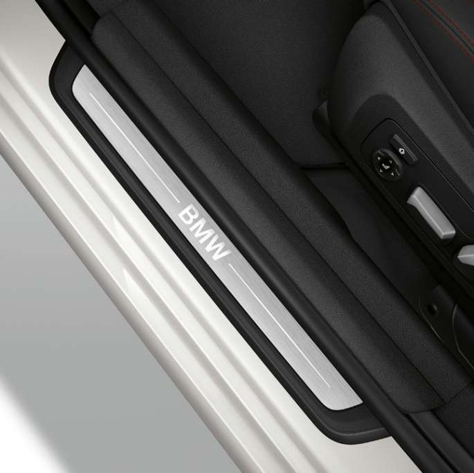 Top view of the door sill of the BMW 3 Series Sedan with Sport Line features.