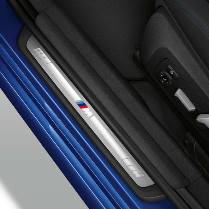 Top view of the door sill of the BMW 3 Series Sedan with M Sport package features.