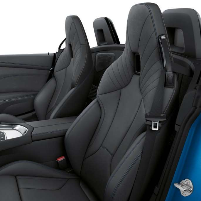 BMW Z Series Roadster: front seats with luxury leather stitching design in black.